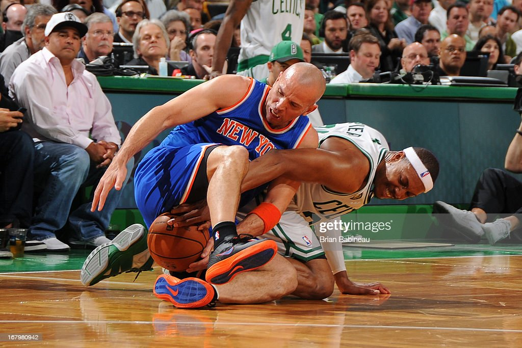 Paul Pierce #34 of the Boston Celtics battles for a loose ball against Jason Kidd #5 of the New York Knicks in Game Six of the Eastern Conference Quarterfinals during the NBA Playoffs on May 3, 2013 at the TD Garden in Boston, Massachusetts.