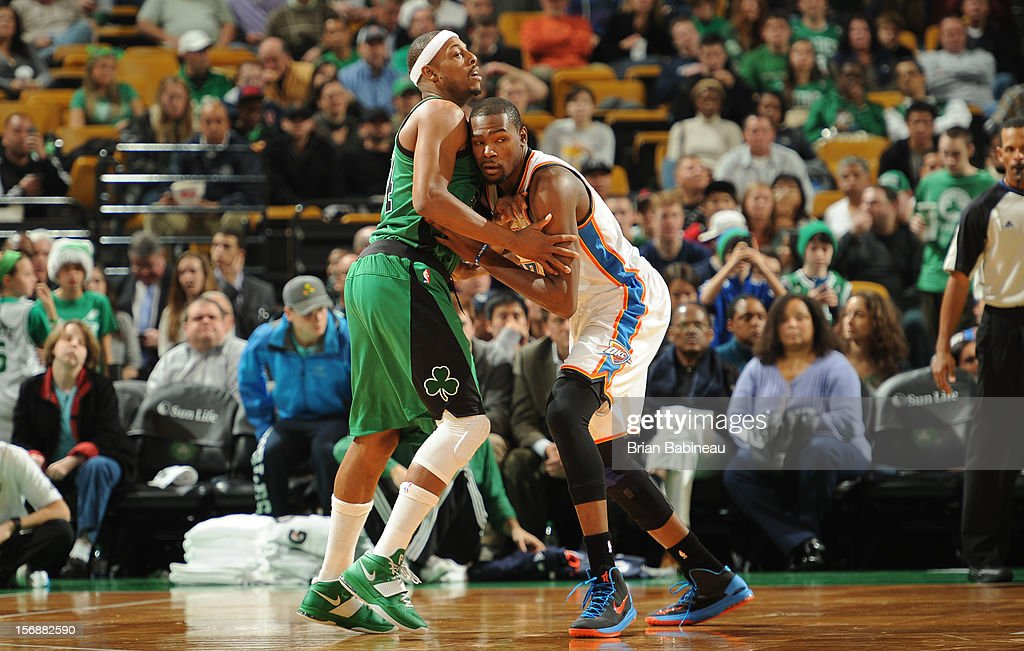 Paul Pierce #34 of the Boston Celtics battles for positioning against Kevin Durant #35 of the Oklahoma City Thunder on November 23, 2012 at the TD Garden in Boston, Massachusetts.