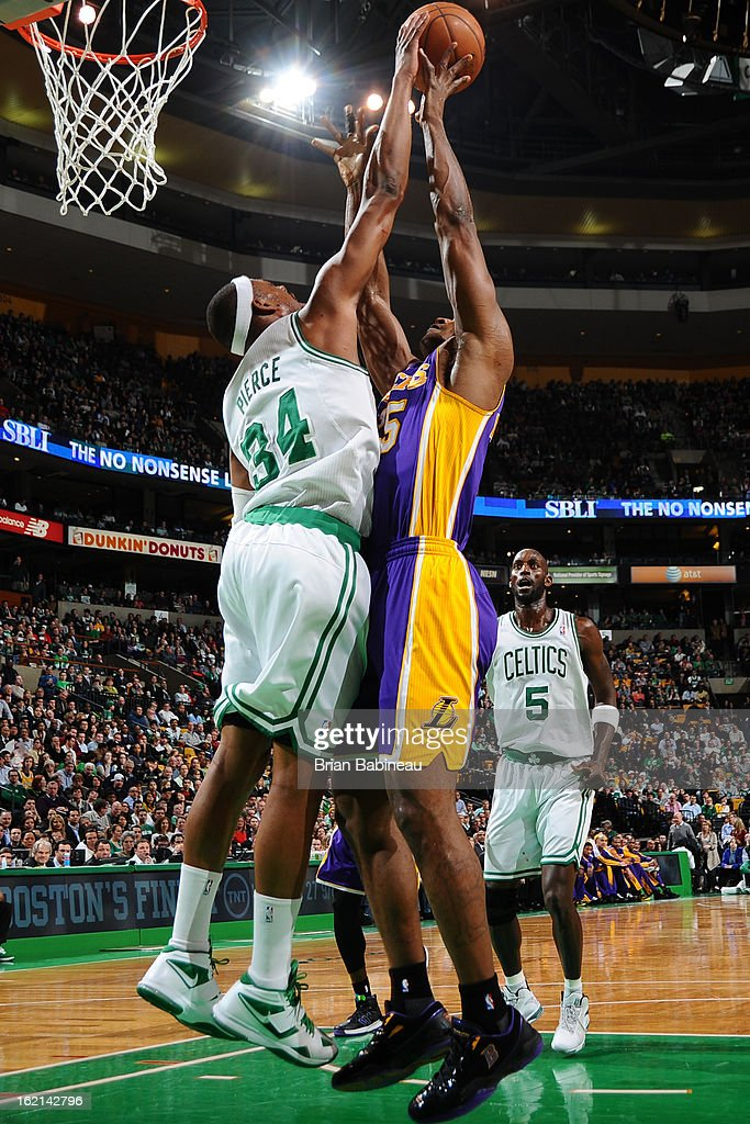 Paul Pierce #34 of the Boston Celtics blocks the shot of Metta World Peace #15 of the Los Angeles Lakers on February 7, 2013 at the TD Garden in Boston, Massachusetts.