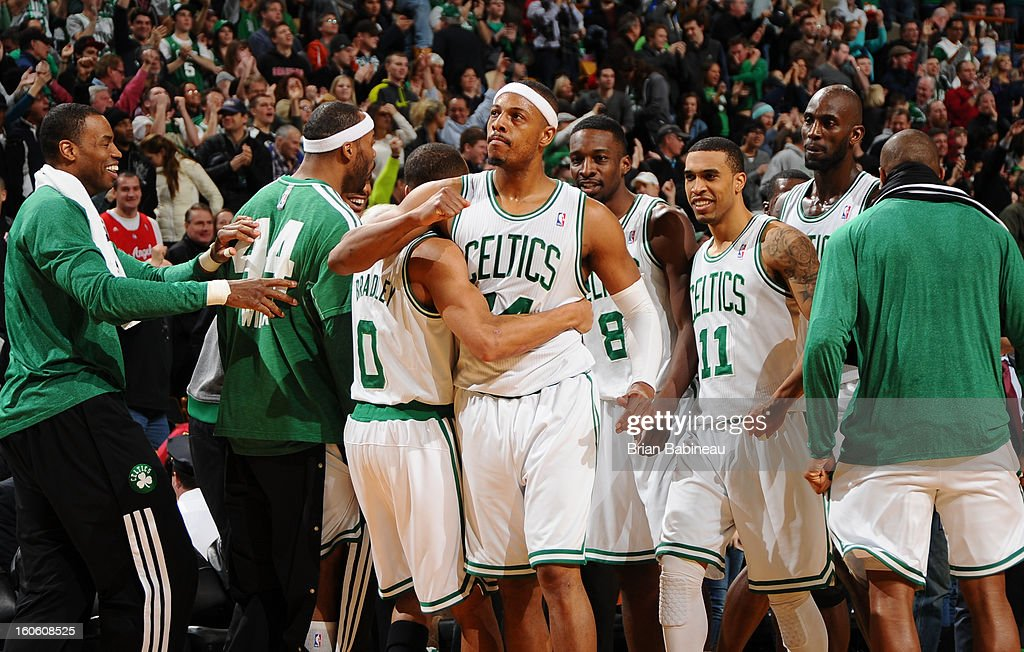 Paul Pierce #34 of the Boston Celtics celebrates a game win with his team against the Los Angeles Clippers on February 3, 2013 at the TD Garden in Boston, Massachusetts.