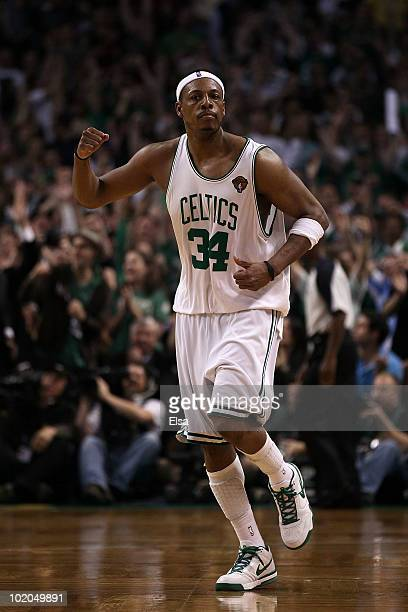 Paul Pierce of the Boston Celtics celebrates after a play against the Los Angeles Lakers in the fourth quarter during Game Five of the 2010 NBA...