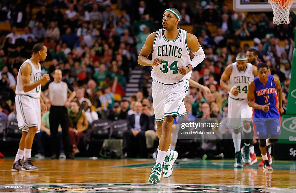 Paul Pierce #34 of the Boston Celtics celebrates after making a shot in the second half against the Detroit Pistons during the game on April 3, 2013 at TD Garden in Boston, Massachusetts.