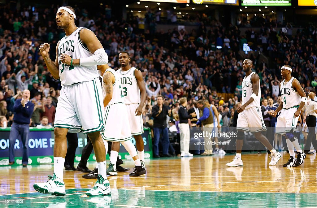 Paul Pierce #34 of the Boston Celtics celebrates after making a three-point shot to tie the game and take it into a third overtime over against the Denver Nuggets during the game on February 10, 2013 at TD Garden in Boston, Massachusetts.