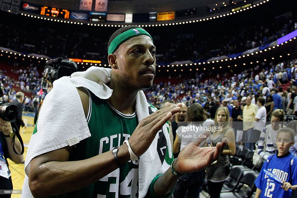 Paul Pierce #34 of the Boston Celtics celebrates after the Celtics won 95-92 against the Orlando Magic in Game Two of the Eastern Conference Finals during the 2010 NBA Playoffs at Amway Arena on May 18, 2010 in Orlando, Florida.