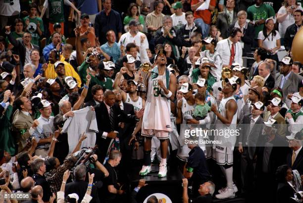 Paul Pierce of the Boston Celtics celebrates as he is named MVP after defeating the Los Angeles Lakers in Game Six of the 2008 NBA Finals at TD...