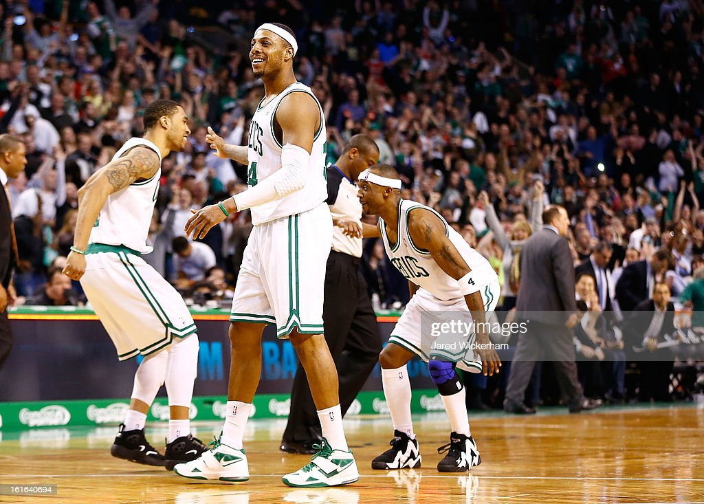 Paul Pierce #34 of the Boston Celtics celebrates following their 71-69 win against the Chicago Bulls during the game on February 13, 2013 at TD Garden in Boston, Massachusetts.