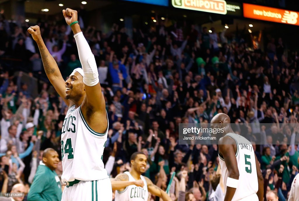 Paul Pierce #34 of the Boston Celtics celebrates following their win against the Denver Nuggets at the end of the third overtime during the game on February 10, 2013 at TD Garden in Boston, Massachusetts.