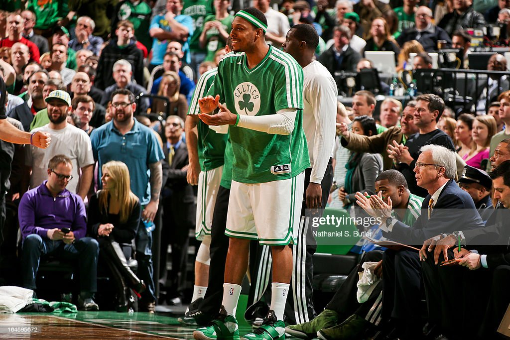 Paul Pierce #34 of the Boston Celtics celebrates from the bench during a game against the Miami Heat on March 18, 2013 at TD Garden in Boston, Massachusetts.