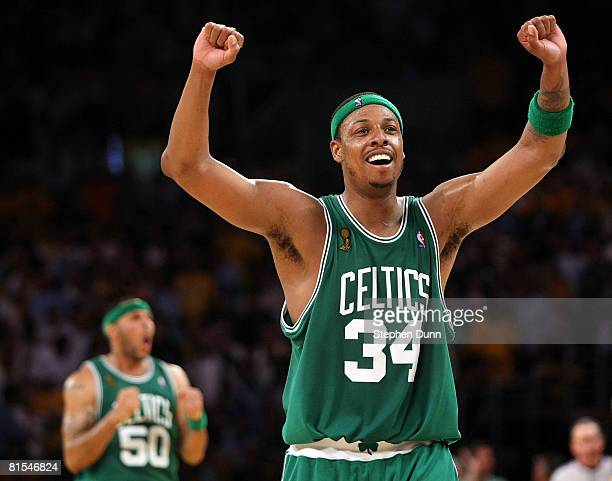 Paul Pierce of the Boston Celtics celebrates in the final moments of the Celtics' win over the Los Angeles Lakers in Game Four of the 2008 NBA Finals...