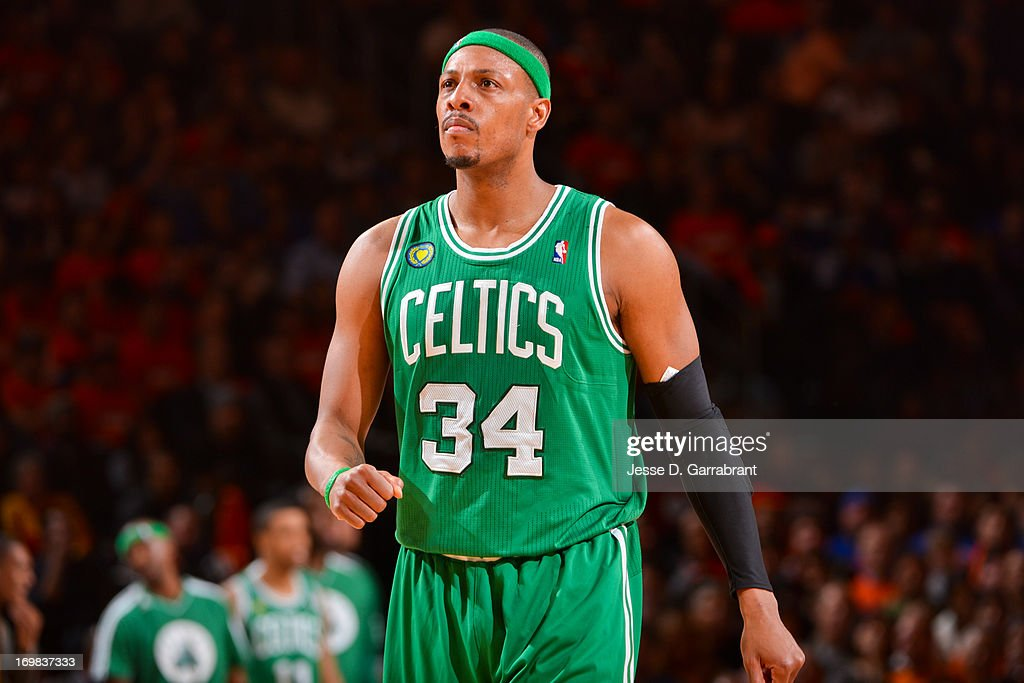 <a gi-track='captionPersonalityLinkClicked' href=/galleries/search?phrase=Paul+Pierce&family=editorial&specificpeople=201562 ng-click='$event.stopPropagation()'>Paul Pierce</a> #34 of the Boston Celtics celebrates while playing the New York Knicks in Game One of the Eastern Conference Quarterfinals during the 2013 NBA Playoffs on April 20, 2013 at Madison Square Garden in New York City, New York.