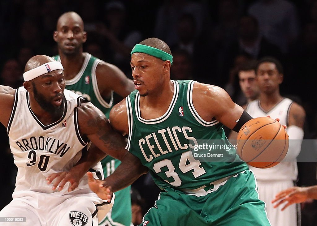 Paul Pierce #34 of the Boston Celtics controls the ball against the Brooklyn Nets at the Barclays Center on November 15, 2012 in the Brooklyn borough of New York City.