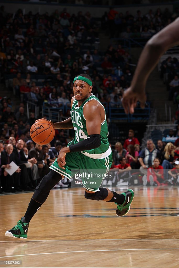 Paul Pierce #34 of the Boston Celtics dribbles the ball up court against the Milwaukee Bucks on November 10, 2012 at the BMO Harris Bradley Center in Milwaukee, Wisconsin.