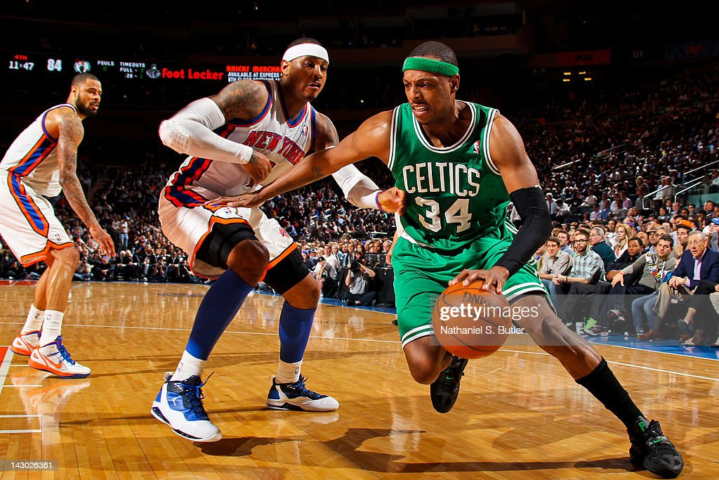 <a gi-track='captionPersonalityLinkClicked' href=/galleries/search?phrase=Paul+Pierce&family=editorial&specificpeople=201562 ng-click='$event.stopPropagation()'>Paul Pierce</a> #34 of the Boston Celtics drives against <a gi-track='captionPersonalityLinkClicked' href=/galleries/search?phrase=Carmelo+Anthony&family=editorial&specificpeople=201494 ng-click='$event.stopPropagation()'>Carmelo Anthony</a> #7 of the New York Knicks on April 17, 2012 at Madison Square Garden in New York City.