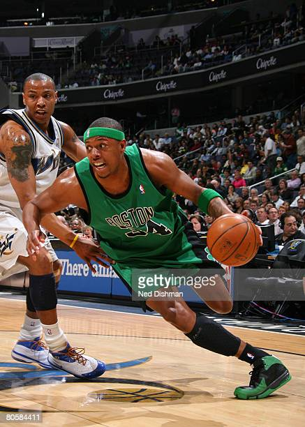 Paul Pierce of the Boston Celtics drives against Caron Butler of the Washington Wizards at the Verizon Center on April 9 2008 in Washington DC NOTE...