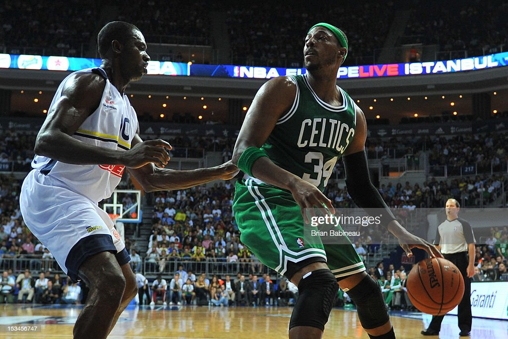 <a gi-track='captionPersonalityLinkClicked' href=/galleries/search?phrase=Paul+Pierce&family=editorial&specificpeople=201562 ng-click='$event.stopPropagation()'>Paul Pierce</a> #34 of the Boston Celtics drives against <a gi-track='captionPersonalityLinkClicked' href=/galleries/search?phrase=Romain+Sato&family=editorial&specificpeople=220873 ng-click='$event.stopPropagation()'>Romain Sato</a> #10 of Fenerbahce Ulker on October 5, 2012 at the Ulker Sports Arena in Istanbul, Turkey.