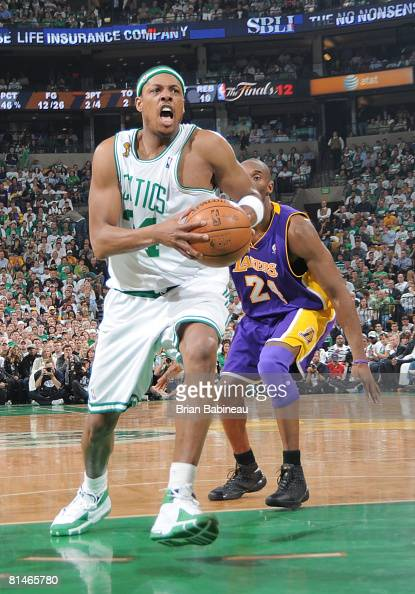 Paul Pierce of the Boston Celtics drives against the Los Angeles Lakers during Game One of the NBA Finals at TD Banknorth Garden on June 5 2008 in...
