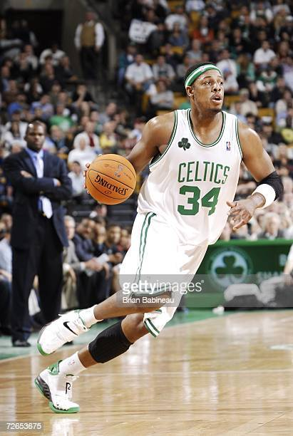 Paul Pierce of the Boston Celtics drives against the Portland Trail Blazers during the game on November 17 2006 at the TD Banknorth Garden in Boston...