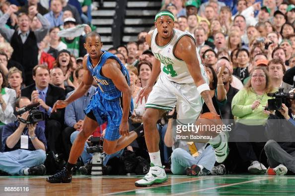 Paul Pierce of the Boston Celtics drives down the court past Rafer Alston of the Orlando Magic in Game One of the Eastern Conference Semifinals...