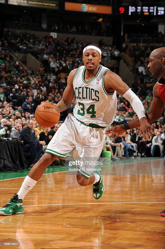 <a gi-track='captionPersonalityLinkClicked' href=/galleries/search?phrase=Paul+Pierce&family=editorial&specificpeople=201562 ng-click='$event.stopPropagation()'>Paul Pierce</a> #34 of the Boston Celtics drives during the game between the Boston Celtics and the Los Angeles Clippers on February 3, 2013 at the TD Garden in Boston, Massachusetts.