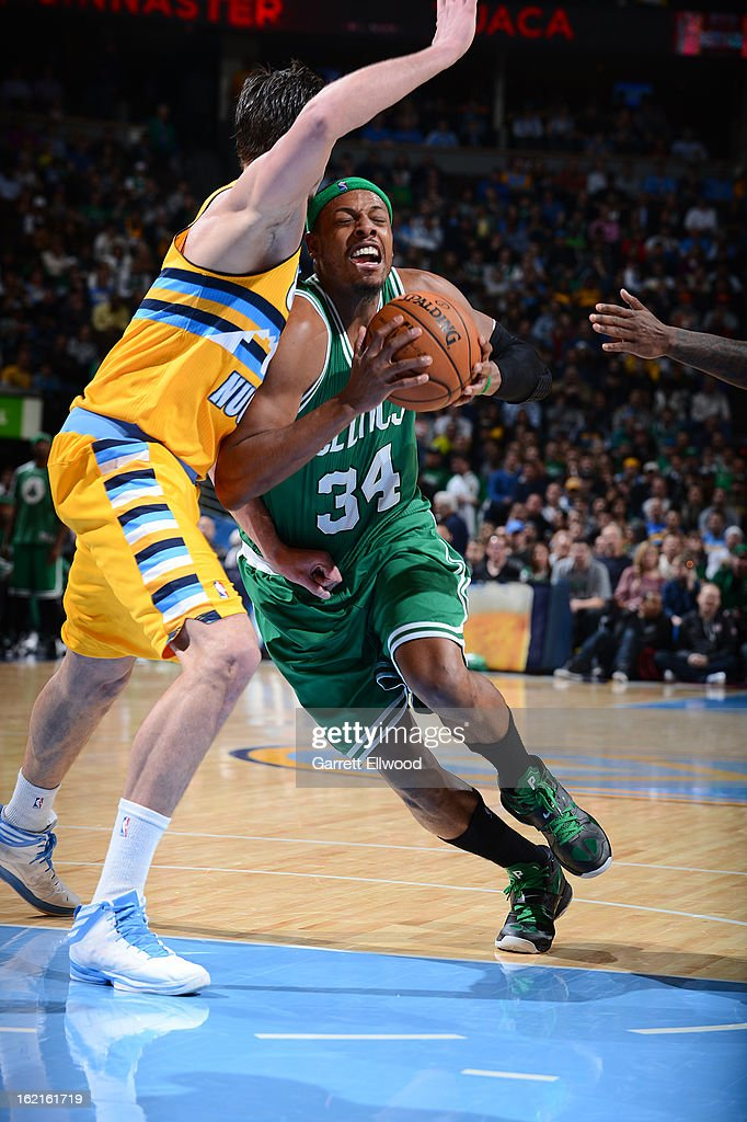 Paul Pierce #34 of the Boston Celtics drives to the basket against Danilo Gallinari #8 of the Denver Nuggets on February 19, 2013 at the Pepsi Center in Denver, Colorado.