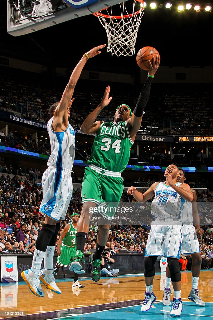 Paul Pierce #34 of the Boston Celtics drives to the basket against Anthony Davis #23 of the New Orleans Hornets on March 20, 2013 at the New Orleans Arena in New Orleans, Louisiana.