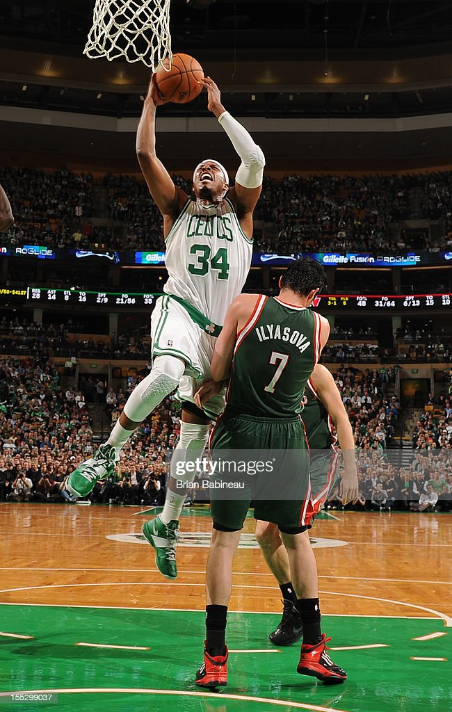 Paul Pierce #34 of the Boston Celtics drives to the basket against Ersan Ilyasova #7 of the Milwaukee Bucks on November 2, 2012 at the TD Garden in Boston, Massachusetts.