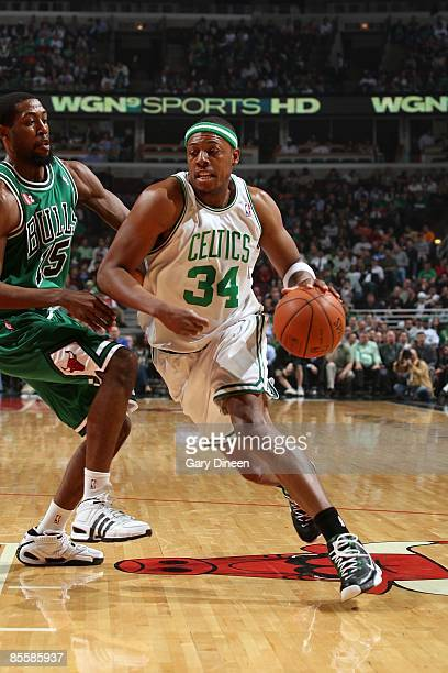 Paul Pierce of the Boston Celtics drives to the basket against John Salmons of the Chicago Bulls during the game at United Center on March 17 2009 in...