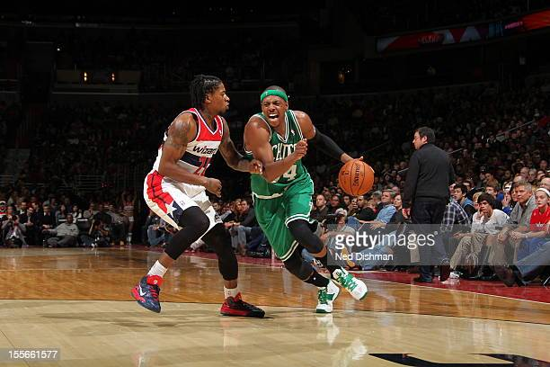 Paul Pierce of the Boston Celtics drives to the basket against Cartier Martin of the Washington Wizards at the Verizon Center on November 3 2012 in...