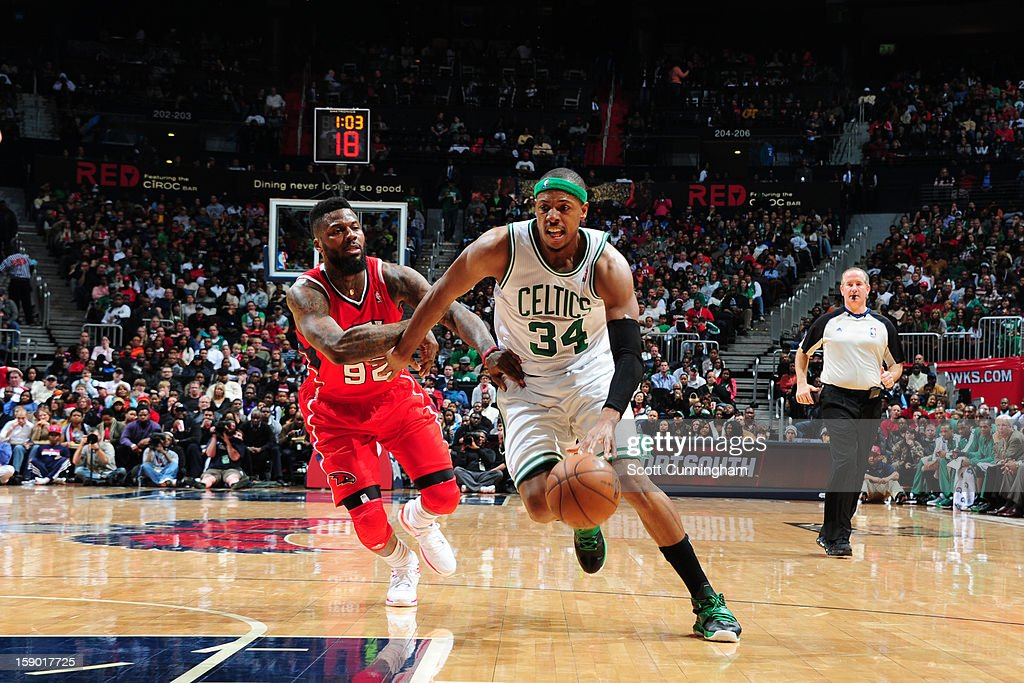 <a gi-track='captionPersonalityLinkClicked' href=/galleries/search?phrase=Paul+Pierce&family=editorial&specificpeople=201562 ng-click='$event.stopPropagation()'>Paul Pierce</a> #34 of the Boston Celtics drives to the basket against <a gi-track='captionPersonalityLinkClicked' href=/galleries/search?phrase=DeShawn+Stevenson&family=editorial&specificpeople=202494 ng-click='$event.stopPropagation()'>DeShawn Stevenson</a> #92 of the Atlanta Hawks on January 5, 2013 at Philips Arena in Atlanta, Georgia.