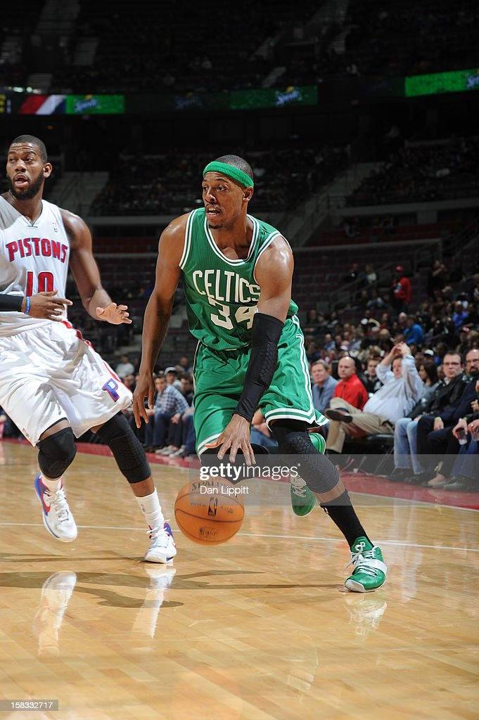 Paul Pierce #34 of the Boston Celtics drives to the basket against the Detroit Pistons on November 18, 2012 at The Palace of Auburn Hills in Auburn Hills, Michigan.