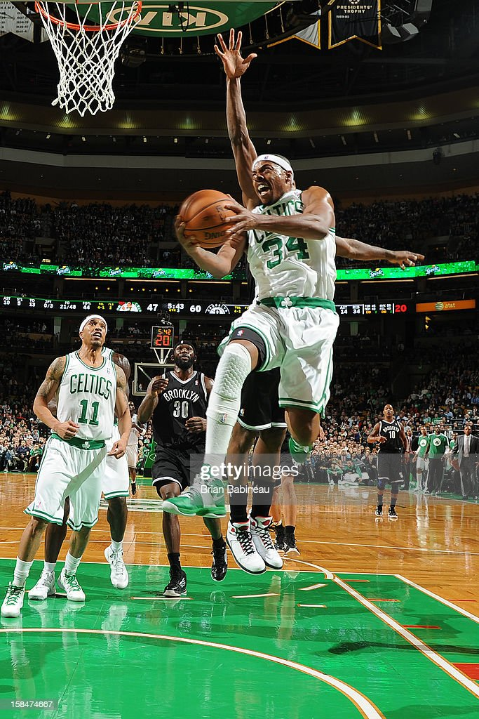 Paul Pierce #34 of the Boston Celtics drives to the basket against the Brooklyn Nets on November 28, 2012 at the TD Garden in Boston, Massachusetts.