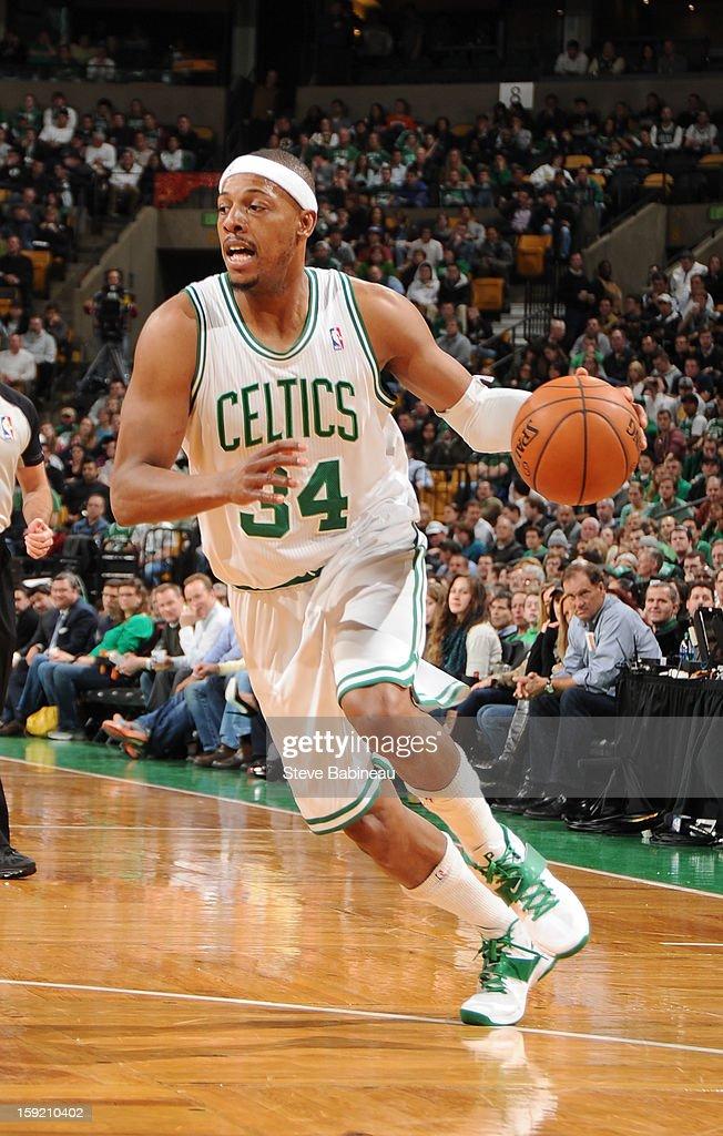 Paul Pierce #34 of the Boston Celtics drives to the basket against the Phoenix Suns on January 9, 2013 at the TD Garden in Boston, Massachusetts.