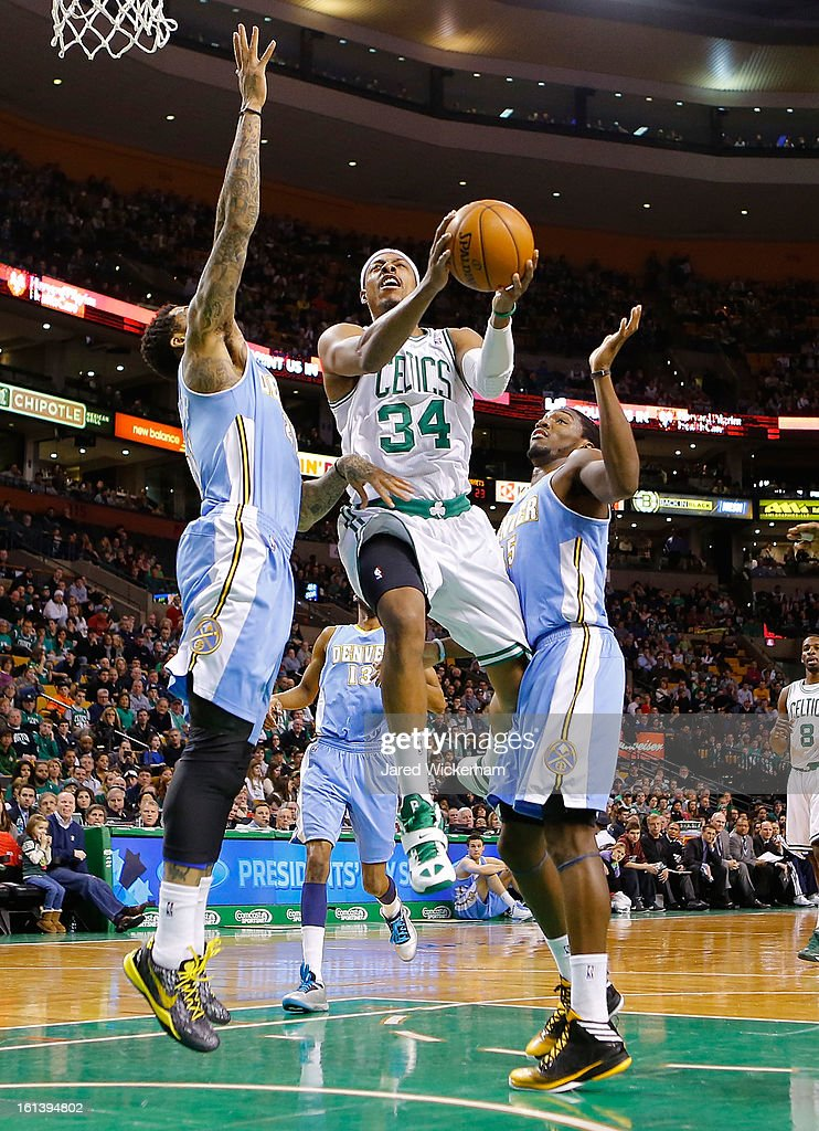 <a gi-track='captionPersonalityLinkClicked' href=/galleries/search?phrase=Paul+Pierce&family=editorial&specificpeople=201562 ng-click='$event.stopPropagation()'>Paul Pierce</a> #34 of the Boston Celtics drives to the basket against the Denver Nuggets during the game on February 10, 2013 at TD Garden in Boston, Massachusetts.