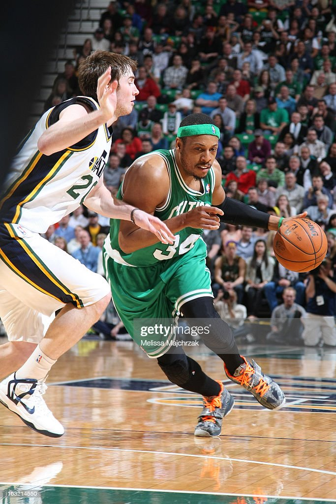 <a gi-track='captionPersonalityLinkClicked' href=/galleries/search?phrase=Paul+Pierce&family=editorial&specificpeople=201562 ng-click='$event.stopPropagation()'>Paul Pierce</a> #34 of the Boston Celtics drives to the basket against the Utah Jazz at Energy Solutions Arena on February 25, 2013 in Salt Lake City, Utah.