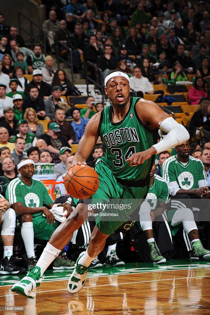 Paul Pierce #34 of the Boston Celtics drives to the basket against the Toronto Raptors on March 13, 2013 at the TD Garden in Boston, Massachusetts.