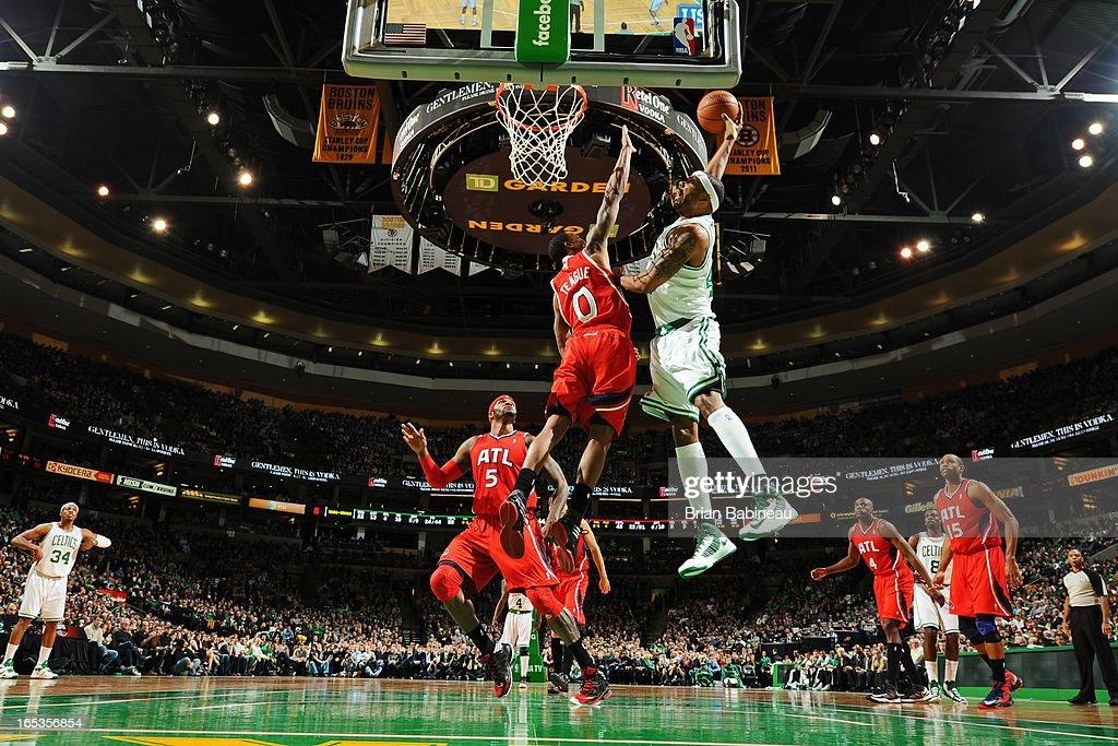 Paul Pierce #34 of the Boston Celtics drives to the basket against the Atlanta Hawks on March 8, 2013 at the TD Garden in Boston, Massachusetts.