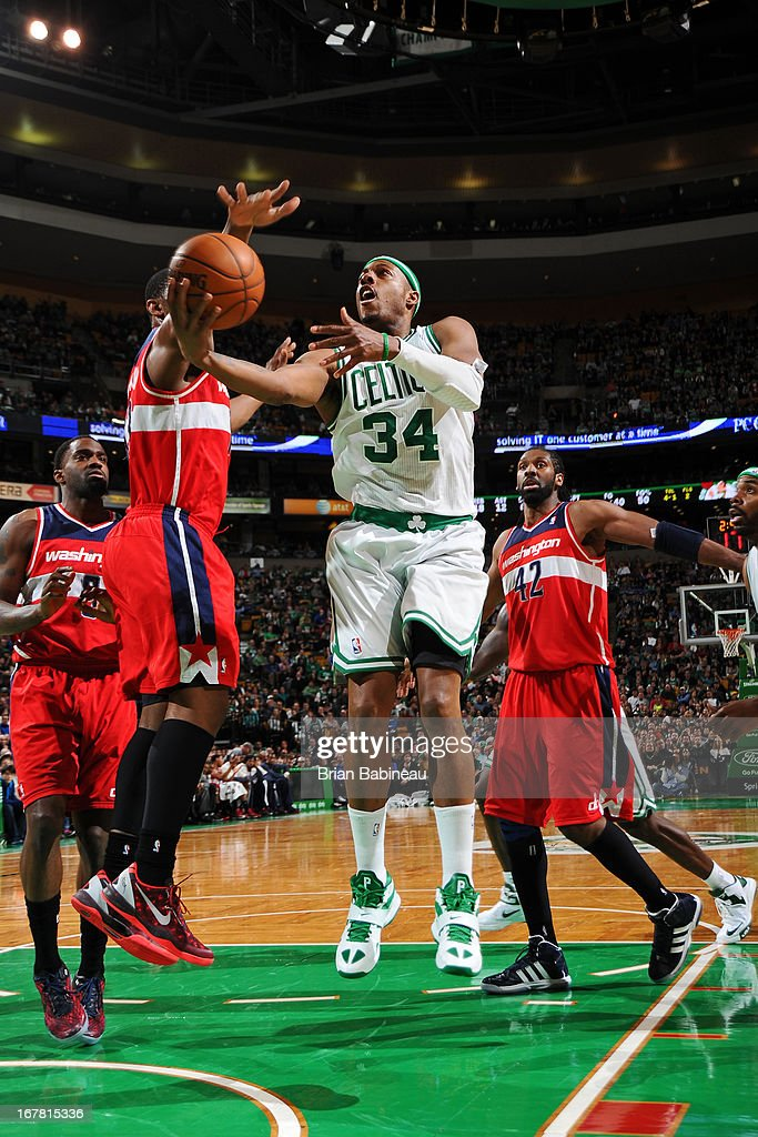BOSTON, MA - APRIL 7 <a gi-track='captionPersonalityLinkClicked' href=/galleries/search?phrase=Paul+Pierce&family=editorial&specificpeople=201562 ng-click='$event.stopPropagation()'>Paul Pierce</a> #34 of the Boston Celtics drives to the basket against the Washington Wizards on April 7, 2013 at the TD Garden in Boston, Massachusetts.