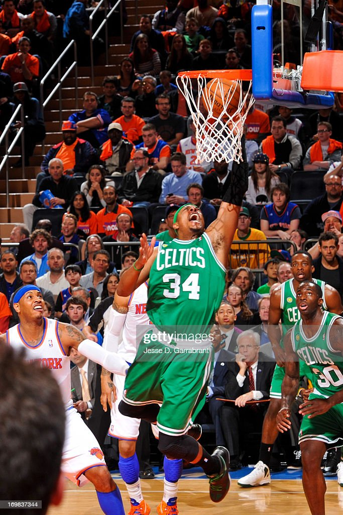 <a gi-track='captionPersonalityLinkClicked' href=/galleries/search?phrase=Paul+Pierce&family=editorial&specificpeople=201562 ng-click='$event.stopPropagation()'>Paul Pierce</a> #34 of the Boston Celtics drives to the basket against the New York Knicks in Game One of the Eastern Conference Quarterfinals during the 2013 NBA Playoffs on April 20, 2013 at Madison Square Garden in New York City, New York.