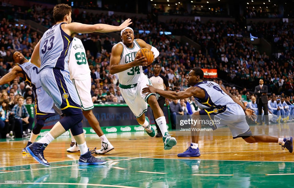 Paul Pierce #34 of the Boston Celtics drives to the basket past Tony Allen #9 of the Memphis Grizzlies during the game on January 2, 2013 at TD Garden in Boston, Massachusetts.