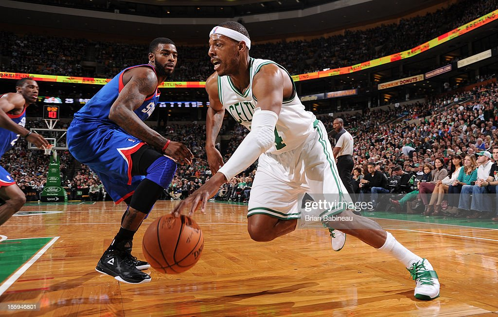 Paul Pierce #34 of the Boston Celtics drives to the hoop against the Philadelphia 76ers on November 9, 2012 at the TD Garden in Boston, Massachusetts.