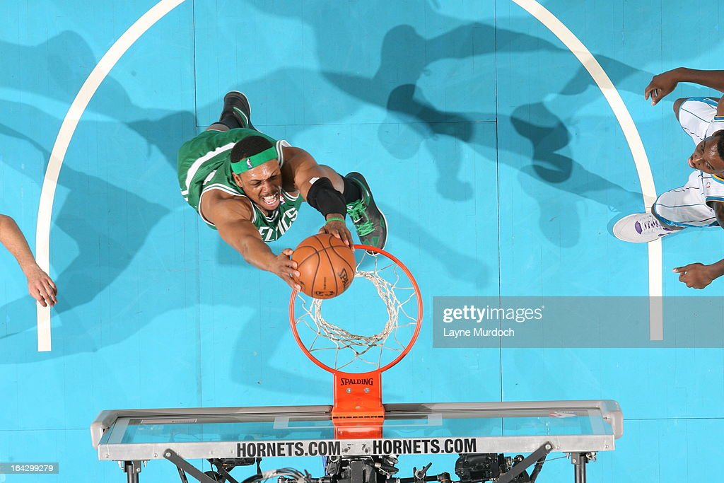 Paul Pierce #34 of the Boston Celtics dunks against the New Orleans Hornets on March 20, 2013 at the New Orleans Arena in New Orleans, Louisiana.