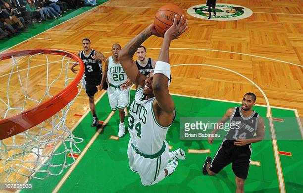Paul Pierce of the Boston Celtics dunks the ball against the San Antonio Spurs on January 5 2011 at the TD Garden in Boston Massachusetts NOTE TO...