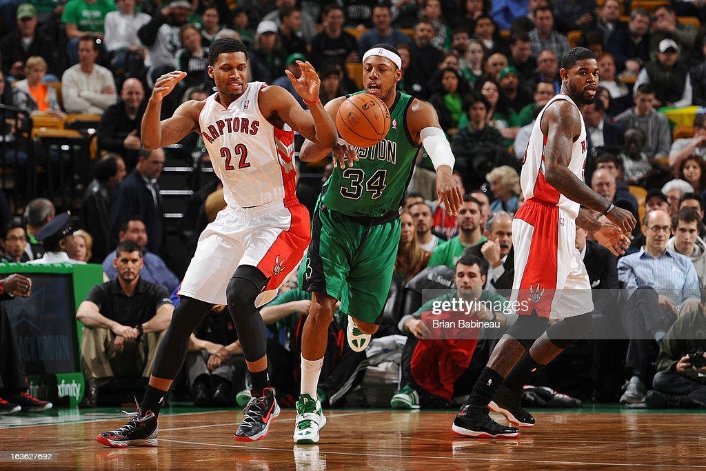 Paul Pierce #34 of the Boston Celtics fight for the ball against Rudy Gay #22 of the Toronto Raptors on March 13, 2013 at the TD Garden in Boston, Massachusetts.