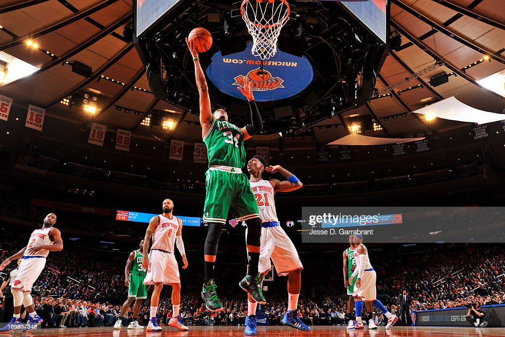 <a gi-track='captionPersonalityLinkClicked' href=/galleries/search?phrase=Paul+Pierce&family=editorial&specificpeople=201562 ng-click='$event.stopPropagation()'>Paul Pierce</a> #34 of the Boston Celtics follows through on a layup after a foul was called against the New York Knicks in Game One of the Eastern Conference Quarterfinals during the 2013 NBA Playoffs on April 20, 2013 at Madison Square Garden in New York City, New York.
