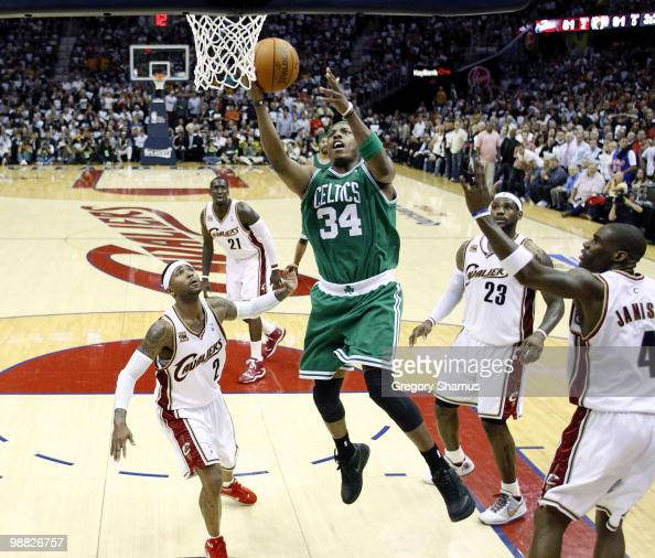 Paul Pierce of the Boston Celtics gets in for a basket between Mo Williams LeBron James and Antawn Jamison of the Cleveland Cavaliers during Game Two...