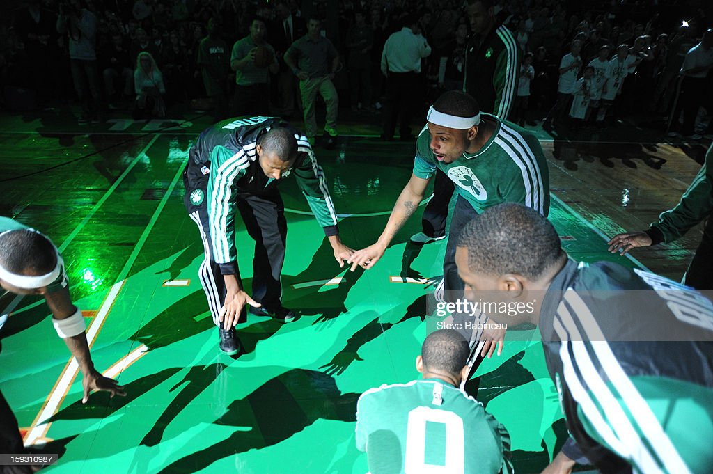 Paul Pierce #34 of the Boston Celtics gets introduced; before the game against the Phoenix Suns on January 9, 2013 at the TD Garden in Boston, Massachusetts.