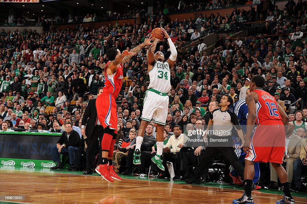 <a gi-track='captionPersonalityLinkClicked' href=/galleries/search?phrase=Paul+Pierce&family=editorial&specificpeople=201562 ng-click='$event.stopPropagation()'>Paul Pierce</a> #34 of the Boston Celtics goes for a jump shot during the game between the Boston Celtics and the Los Angeles Clippers on February 3, 2013 at the TD Garden in Boston, Massachusetts.