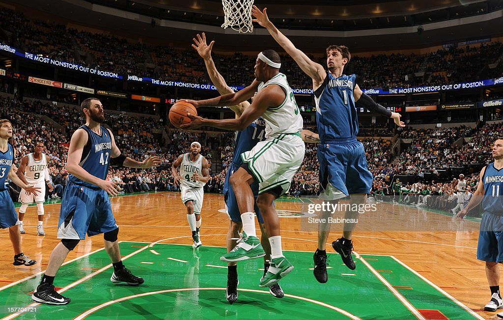 Paul Pierce #34 of the Boston Celtics goes to the basket against Alexey Shved #1 of the Minnesota Timberwolves on December 5, 2012 at the TD Garden in Boston, Massachusetts.