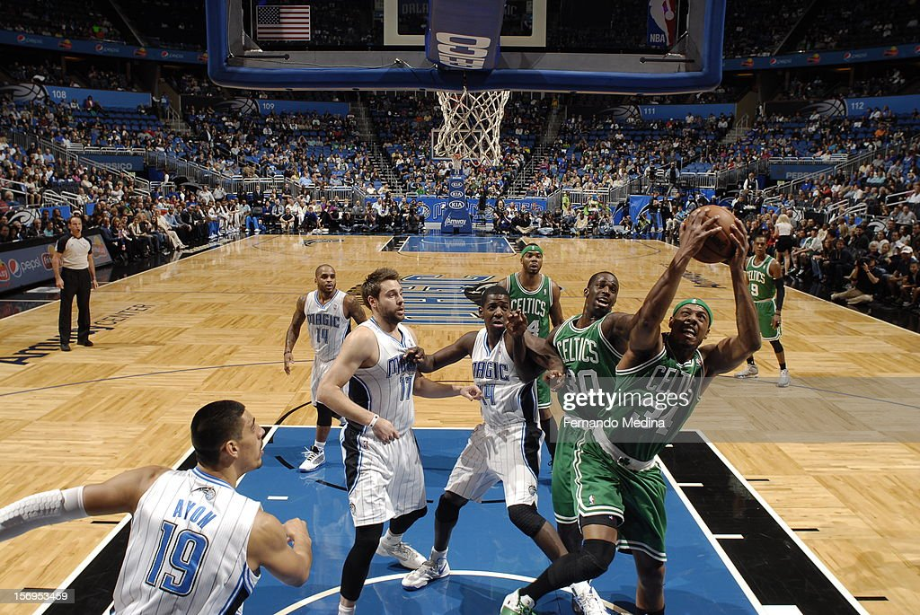Paul Pierce #34 of the Boston Celtics goes to the basket during the game between the Boston Celtics and the Orlando Magic on November 25, 2012 at Amway Center in Orlando, Florida.