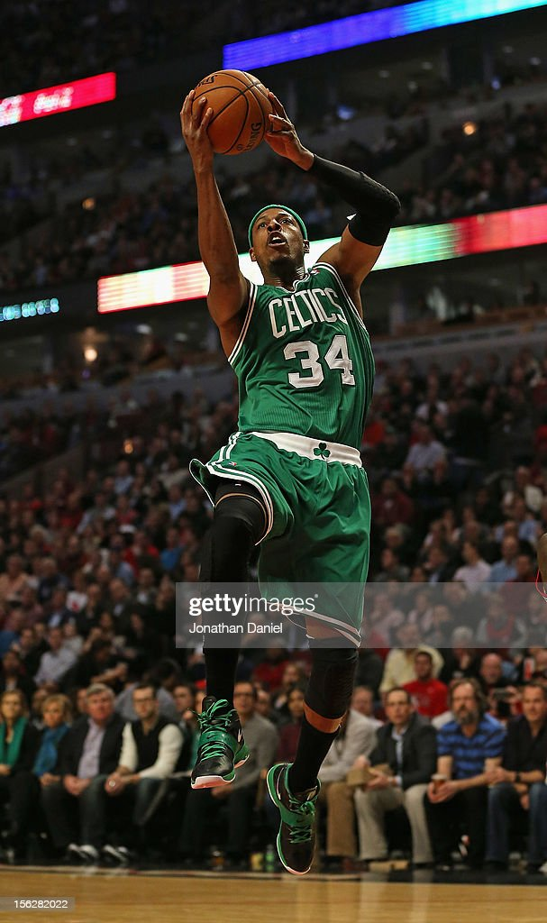 Paul Pierce #34 of the Boston Celtics goes up for a shot against the Chicago Bulls at the United Center on November 12, 2012 in Chicago, Illinois.